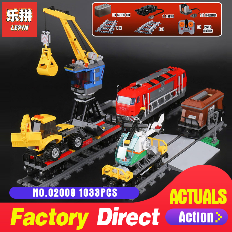Lepin 02009 1033Pcs City Series RC Heavy-haul Train Set 60098 Model Building Toy Building Block Toy As Chilldren Christmas Gift lepin 02009 1033pcs city engineering remote control rc train building block compatible 60098 brick toy