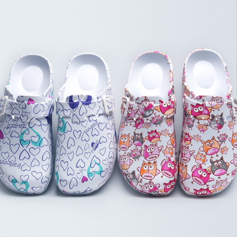 2018 Spring New Women's Surgical Clogs EVA Fancy Print Light Weight Doctor Closed Toe Slippers Shoes Clean Room Footwear