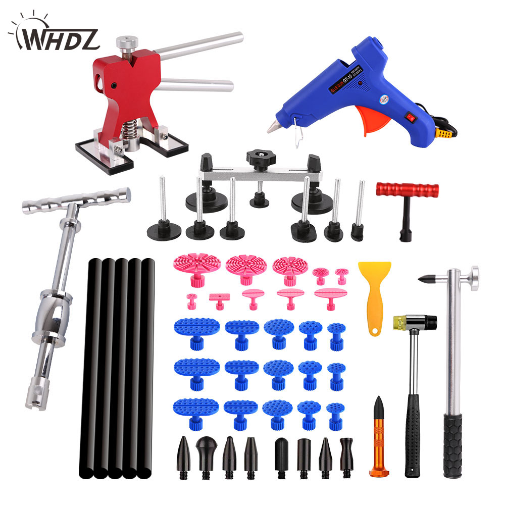WHDZ PDR Car dent repair tools kit 12v glue gun T-puller pulling bridge glue tabs hand tools Paintless Dent Removal quick 706w digital display hot air gun soldering iron anti static temperature lead free rework station 2 in 1 with 3 nozzles