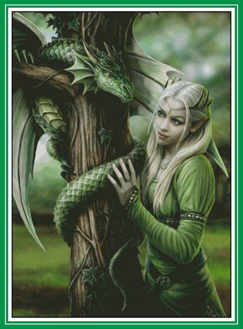 Oneroom Dragon vert sur l'arbre et la beauté broderie couture 14CT toile non imprimé DMC bricolage point de croix Kits fait à la main