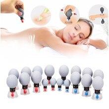 Juego de tazas de vacío TCM, ventosa de acupresión para terapia magnética, jarras para el masaje de meridianos con crema, 18 Uds.