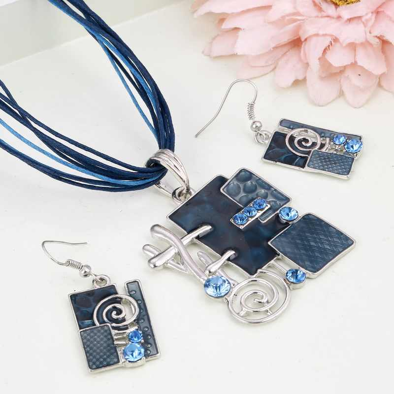 Enamel Geometry Pendant Necklace Earrings Set Silver Plated Wax Rope Layers Retro Jewelry Sets Fashion Circle Necklace Wedding