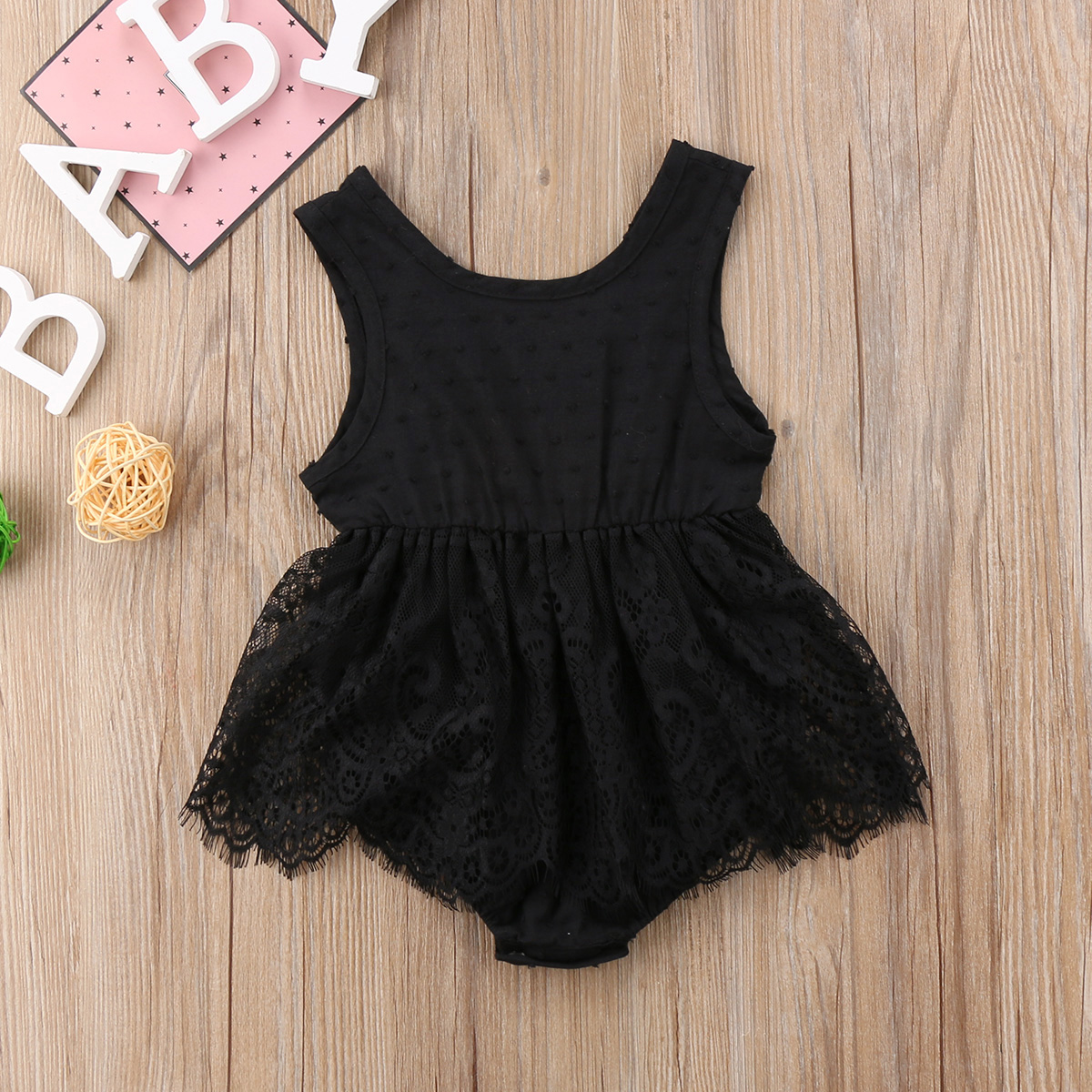 Fashion Baby Girls Infant Newborn Lace Tutu Bodysuit Summer Clothes 0-18M Baby Clothing Bodysuit Dress