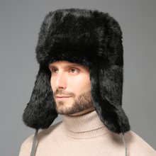 2018 Winter Warm Russian Fur Hat For Men Genuine Rabbit Fur Bomber Hats With Ear Flaps Snow Caps Unisex Real Fur Hats Trapper стоимость