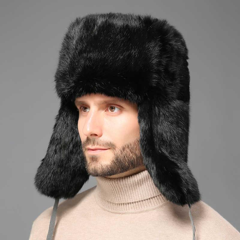 e4c5d58de2948 2018 Winter Warm Russian Fur Hat For Men Genuine Rabbit Fur Bomber Hats  With Ear Flaps
