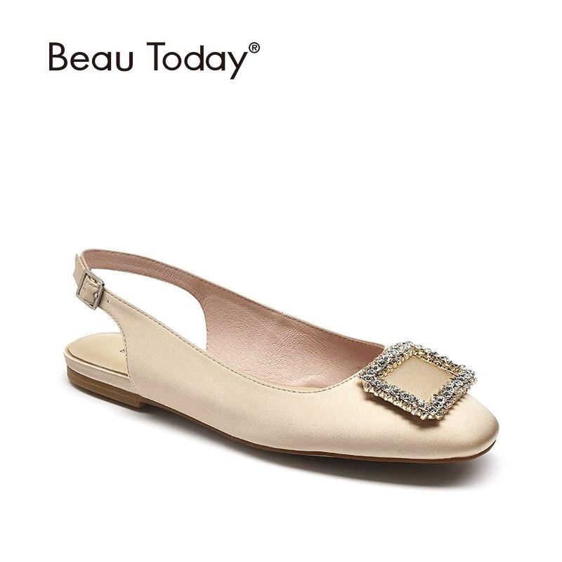 Beautoday 샌들 여성 파티 실크 옷감 광장 발가락 버클 크리스탈 세부 여름 숙녀 플랫 신발 수제 32154-에서로우힐부터 신발 의  그룹 1