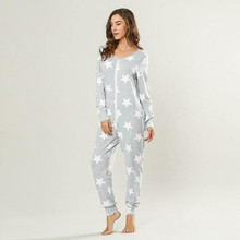 Womens Fashion Print Long Sleeve Sweatshirt Home Service Jumpsuit Rompers Womens