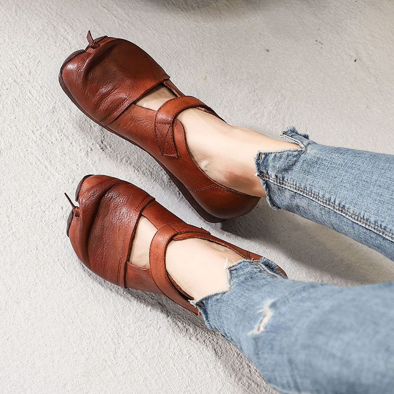VALLU 2019 Spring New Female Footwear Women Flats Genuine Leather Shoes Solid Color Ladies Soft Comfortable
