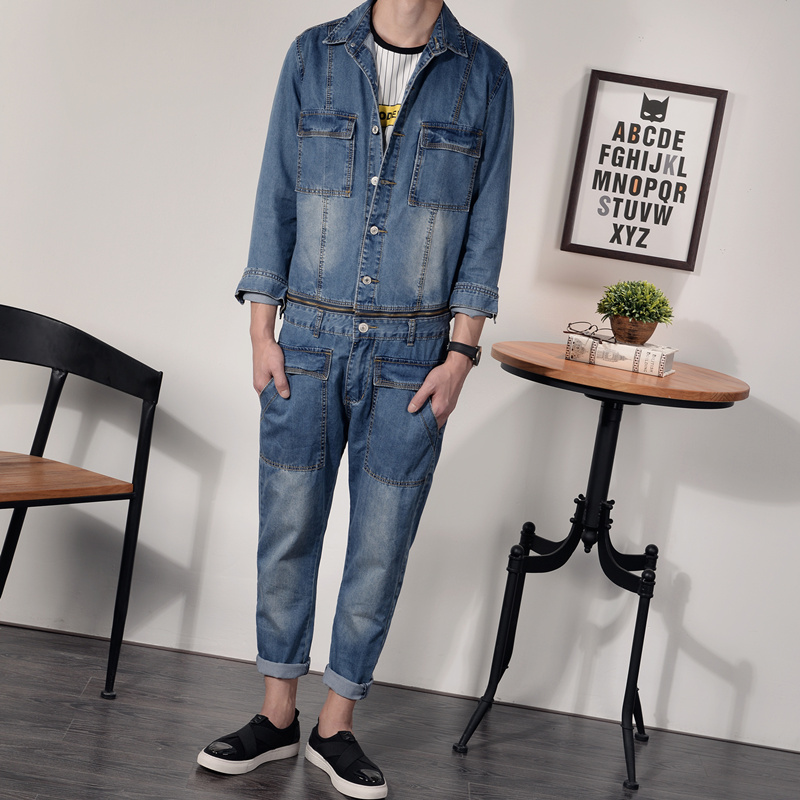 Male vintage tooling one piece jeans personality water wash bodysuit male suspenders trousers