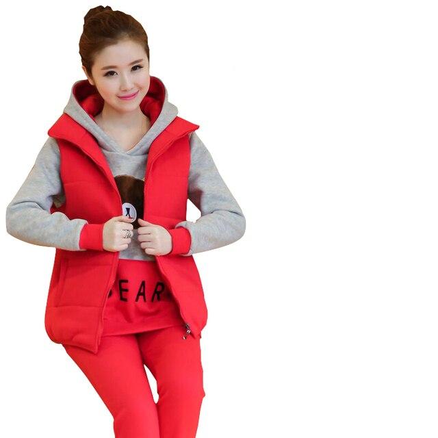 e876e9a74bd85 3PCS/Sets Velvet Winter Maternity Clothes Sports Suits Pregnant Clothing  Hoodie + Vest + Pants for Pregnant Women Clothes C577