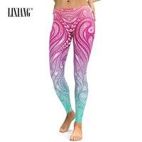 Lixiang Women's Leggings Aztec 3D Printing leggins Stretch Elastic Workout Women Pants Legging