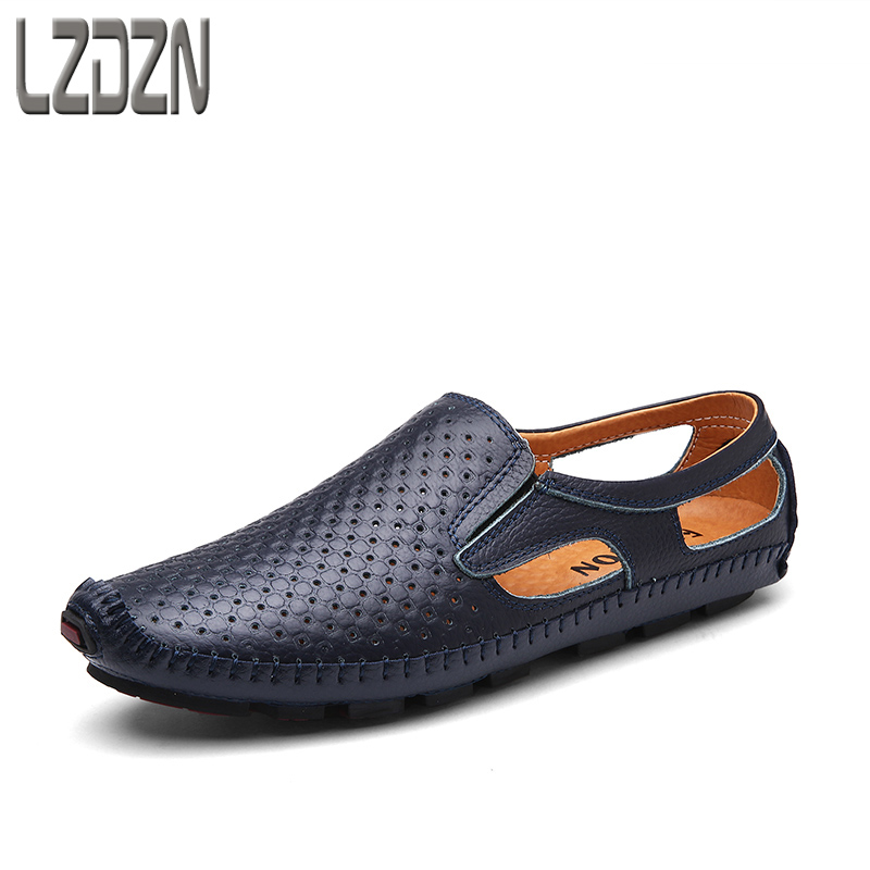 Summer leisure middle-aged men leather sandals hole summer shoes without laces lazy breathable personality.