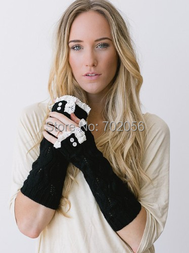 Solid Lace Knitted Fingerless Gloves Ballet Dance Button Glove Wrist Warmers Arm Warmers Mitten Fashion 3 Colors #3720