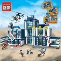 951 unids ciudad enlighten serie móvil estación de policía helicóptero camión motocicleta modelo de bloques de construcción ladrillos juguetes playmobil regalos