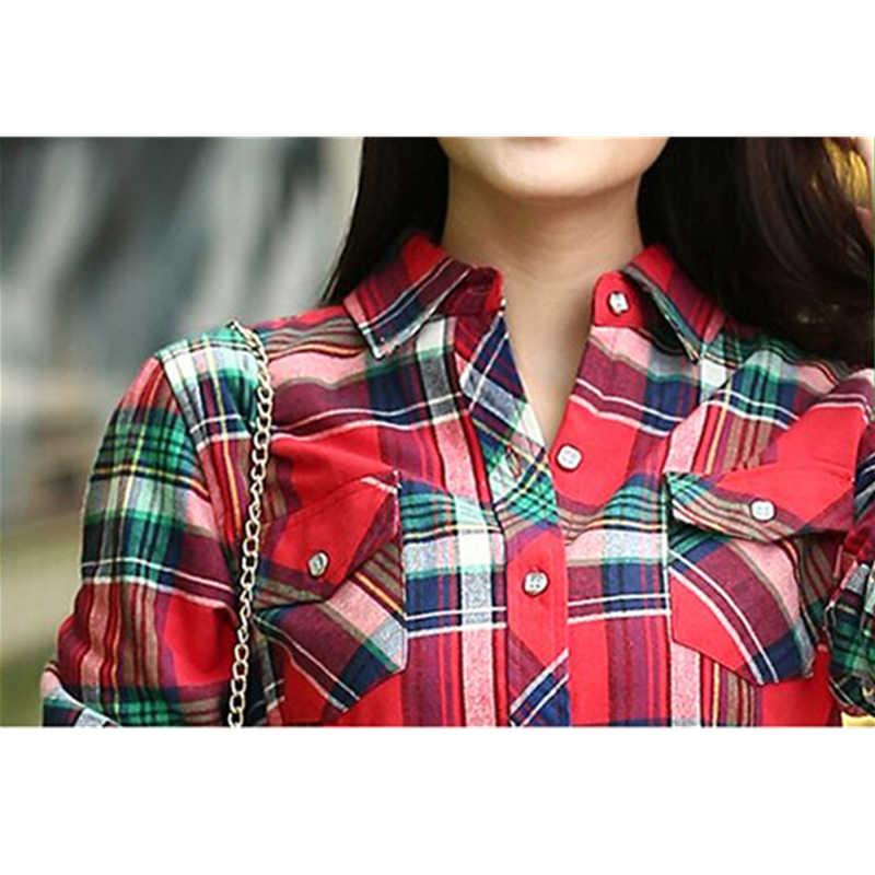 2019 Толстая бархатная зимняя теплая хлопковая Женская Офисная фланелевая рубашка в клетку, блузки, корейские женские рубашки, большие размеры, топы 4XL