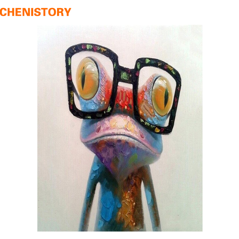 CHENISTORY Abstrakt Farbe Frosch Tiere DIY Malerei Durch Zahlen Acryl Bild Handgemalte Ölgemälde Für Einzigartige Geschenk 40x50