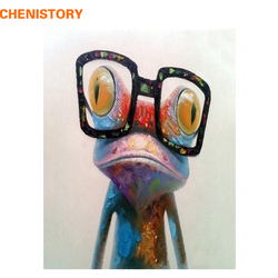 CHENISTORY Abstract Paint Frog Animals DIY Painting By Numbers Acrylic Picture Hand Painted Oil Painting For Unique Gift 40x50