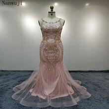 In stock Luxury Dubai Arabic Robe De Soiree Evening Dresses  New Long Sleeve Prom Dress Party Crystal Beaded Vestido De Festa asled white