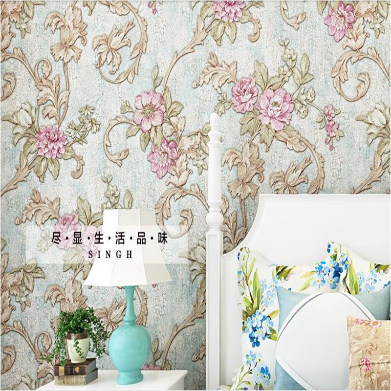 beibehang 3d three - dimensional American rural retro garden wallpaper non - woven bedroom living room TV background wallpaper beibehang precision pressure 3d three dimensional non woven wallpaper sofa wall paper wallpaper living room bedroom full shop