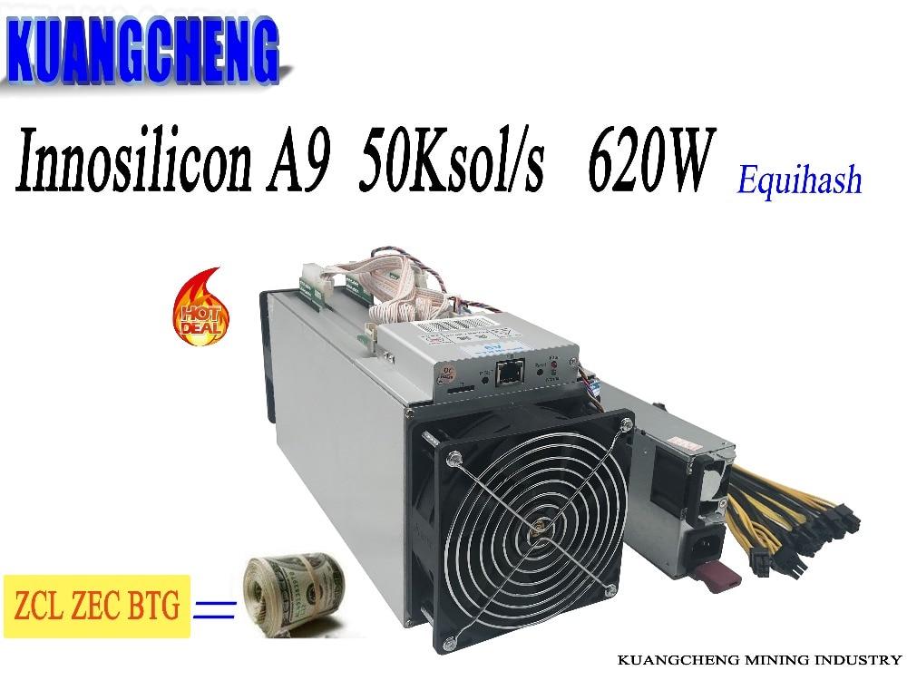 Viejo usde minero 95% nuevo KUANGCHENG Innosilicon A9 ZMaster 50 k sol/s con 750 W PSU Zcash ZCL ZEC máquina de minería máquina de Equihash mío