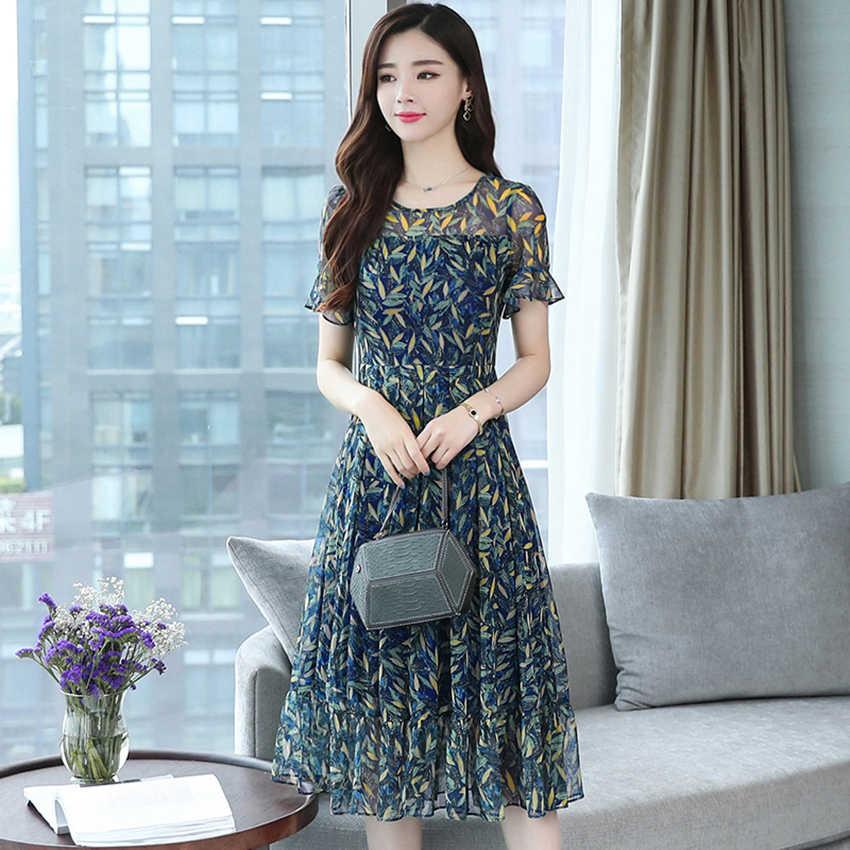 3XL Большой размер женские летние стройные пригородные цветочные шифоновое богемное платье 2019 Корейское элегантное женское пляжное платье Повседневная Официальное клубное платье Vestidos