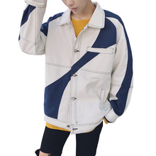 New 2018 Mens Hip Hop Harajuku Clothing Character Two-color stitching outfit retro washed denim jacket singer costumes M-5XL