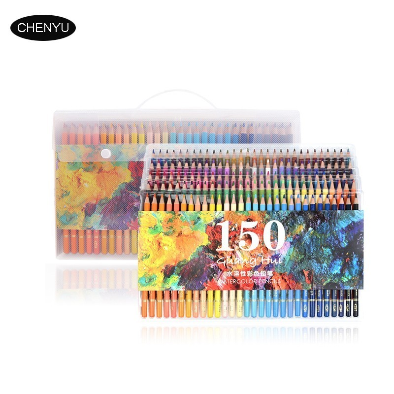 CHENYU150 Colors Soft Watercolor Pencils Wood Soluble Coloured Pencils Set For Lapis De Cor Painting Sketch School Art Supplies art supplies 150 colors soft watercolor pencils wood water soluble coloured pencils set for lapis de cor painting sketch school