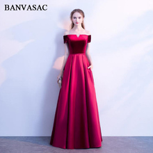 BANVASAC 2018 Velour Boat Neck Satin Sash A Line Long Evening Dresses Off The Shoulder Backless Party Prom Gowns