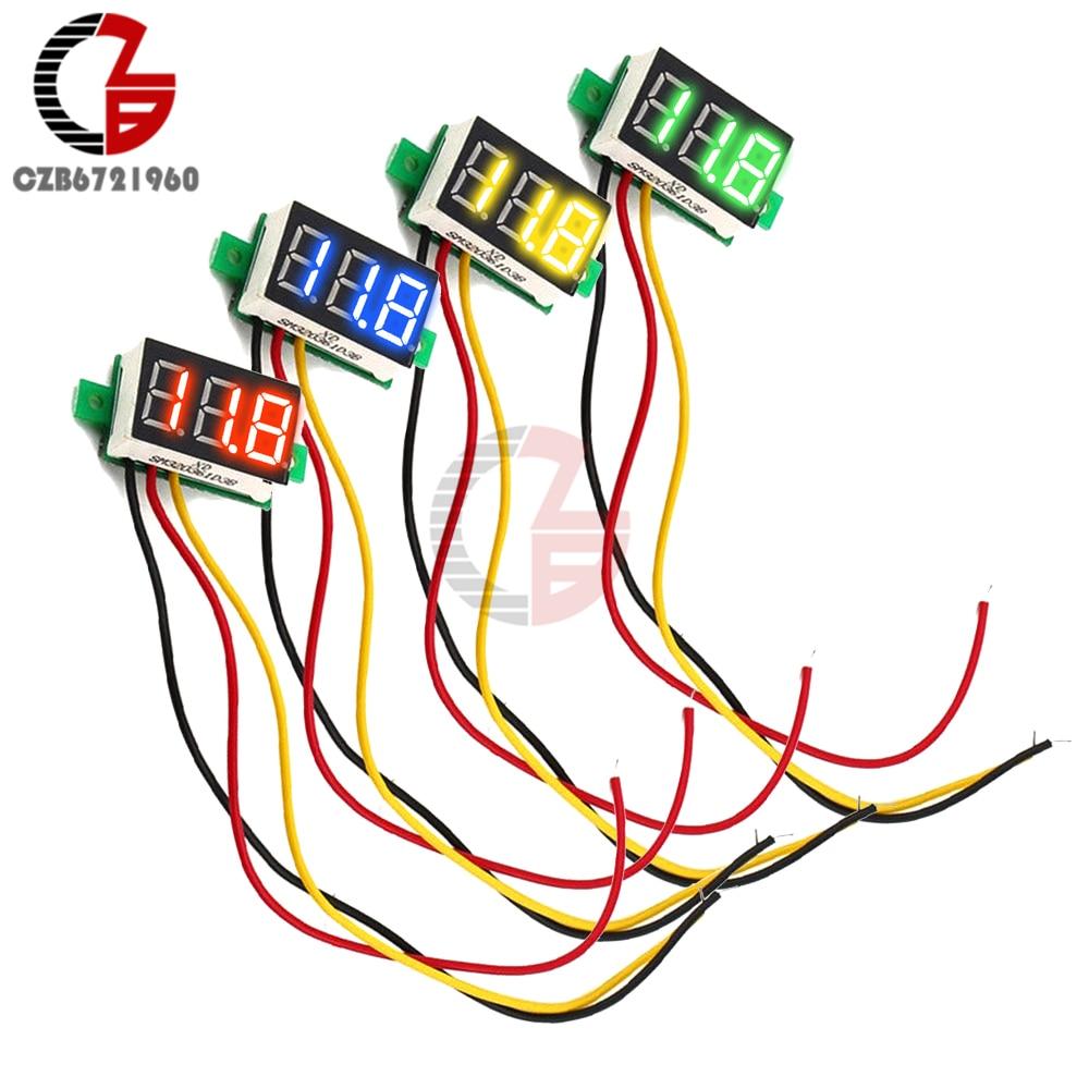 HTB1KUv3djfguuRjy1zeq6z0KFXaD 0.28 inch DC LED Digital Voltmeter 0-100V Voltage Meter Auto Car Mobile Power Voltage Tester Detector 12V Red Green Blue Yellow