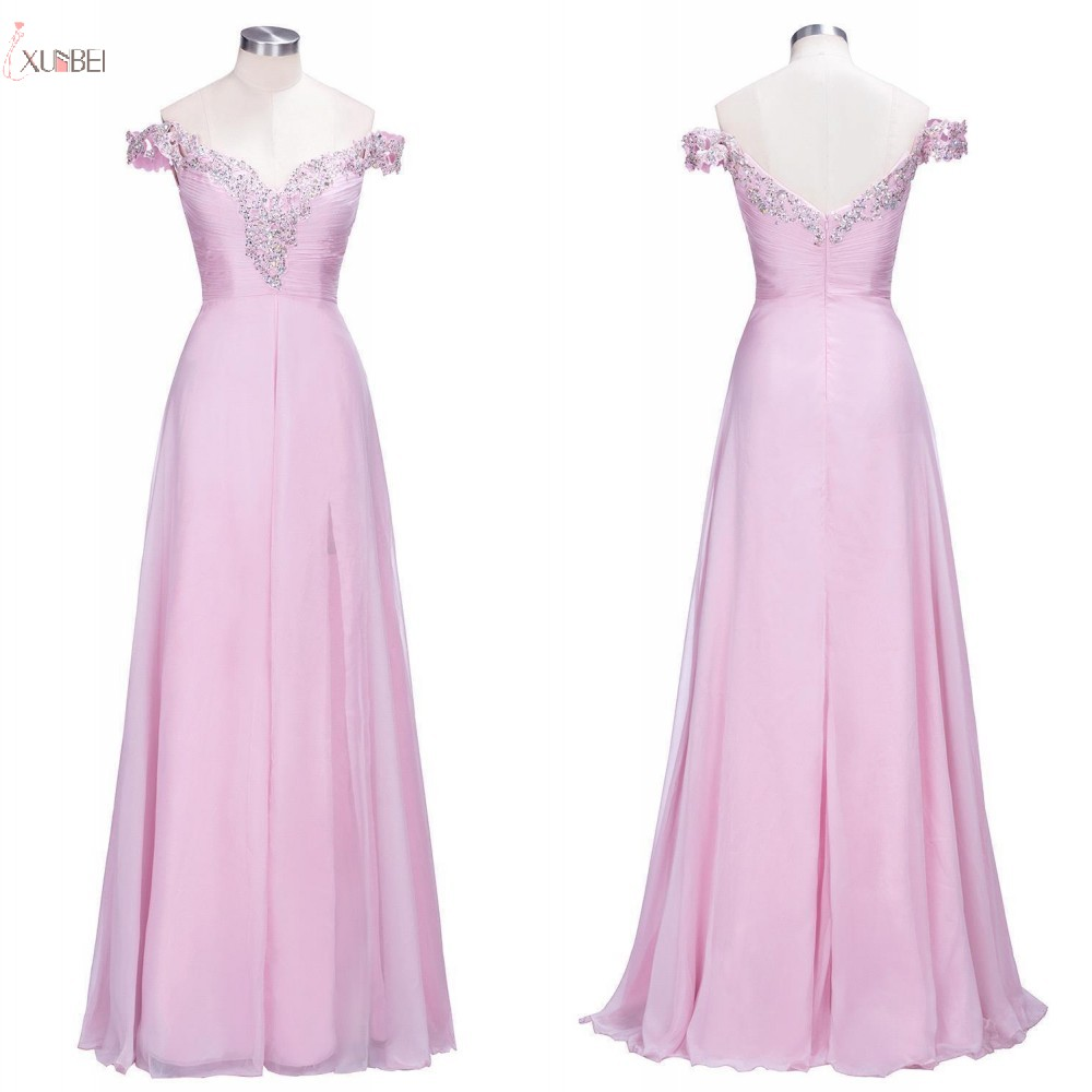 Stock Elegant Chiffon Beaded Long   Bridesmaid     Dresses   A line Sleeveless Wedding Party Gown vestido madrinha