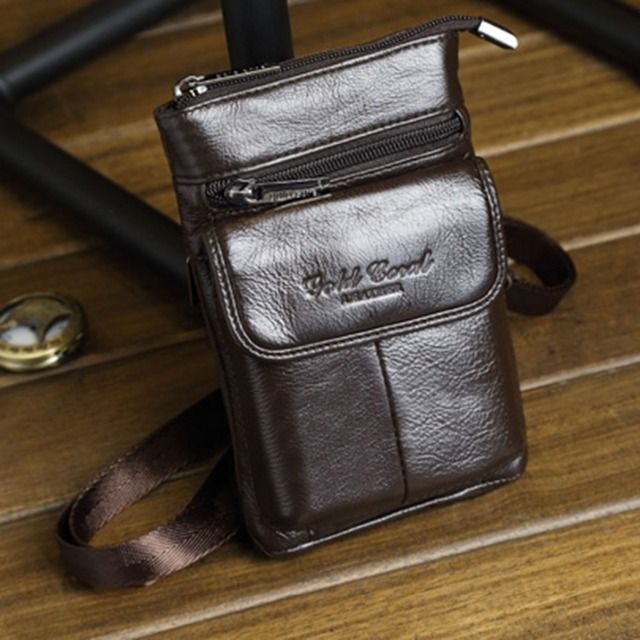 89c1e51313f9 100% Natural Leather One Shoulder Messenger Mini Fanny Bags Men Cell Phone  Case Purse Male Real Cowhide Hook Belt Pack Waist Bag-in Crossbody Bags ...