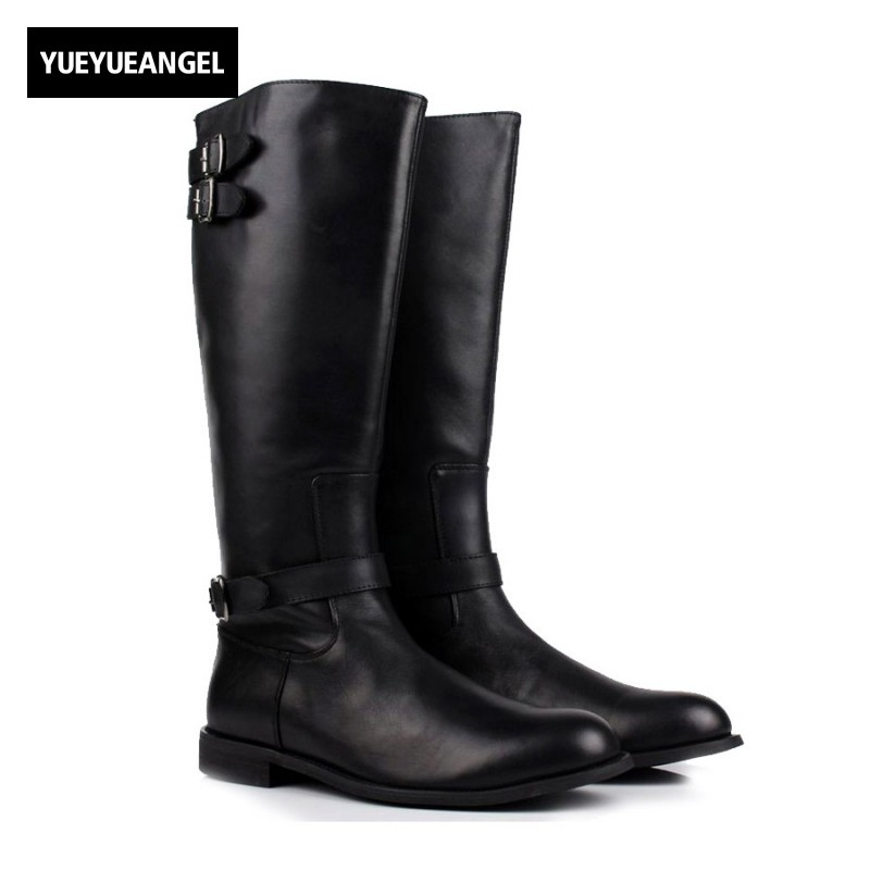Italian Luxury Men Knee High Martin Boots Handmade Genuine Leather Motorcycle Biker Boots Buckle Footwear Black Punk Male Shoes italian visual phrase book