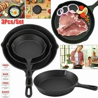 3Pcs/Set Cast Iron Non stick 14 26CM Skillet Frying Pan for Gas Induction Cooker Eggs Pancake Pot Kitchen&Dining Tools Cookware