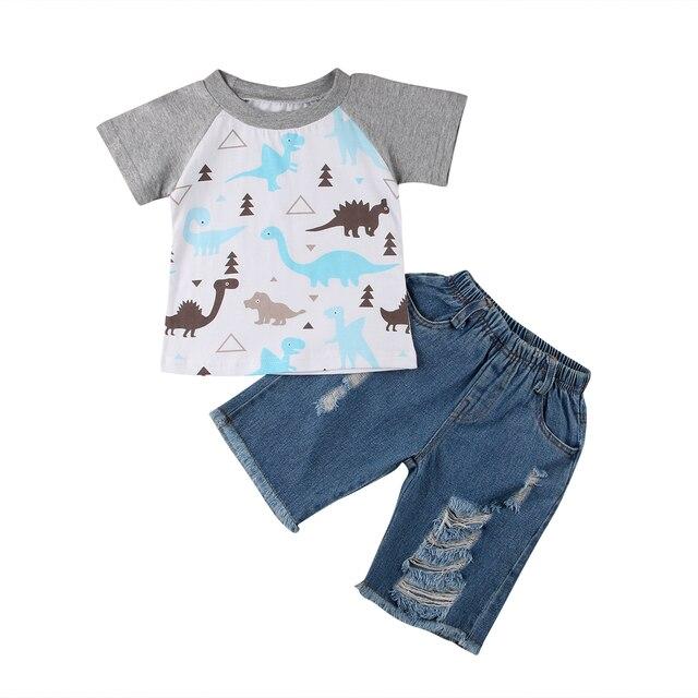 7250aca6e 2PCS Toddler Kids Baby Boys T-shirt Tops+Denim Shorts Pants Dinosaur Boy  Clothing Set Summer Outfits Clothes Set Short Sleeve