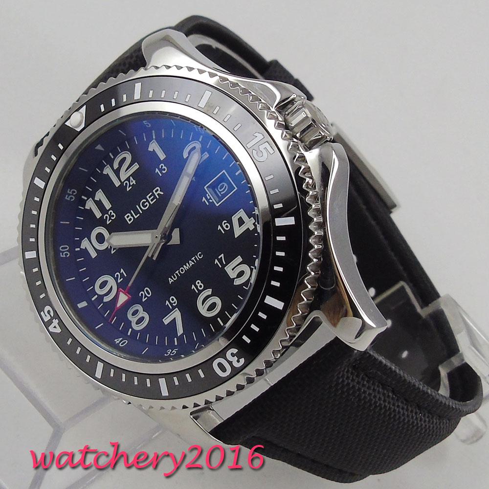 44mm Bliger Zwarte Wijzerplaat Lichtgevende marks Roterende Bezel Kalender rvs Case Luxe Automatisch uurwerk Horloge-in Mechanische Horloges van Horloges op  Groep 1