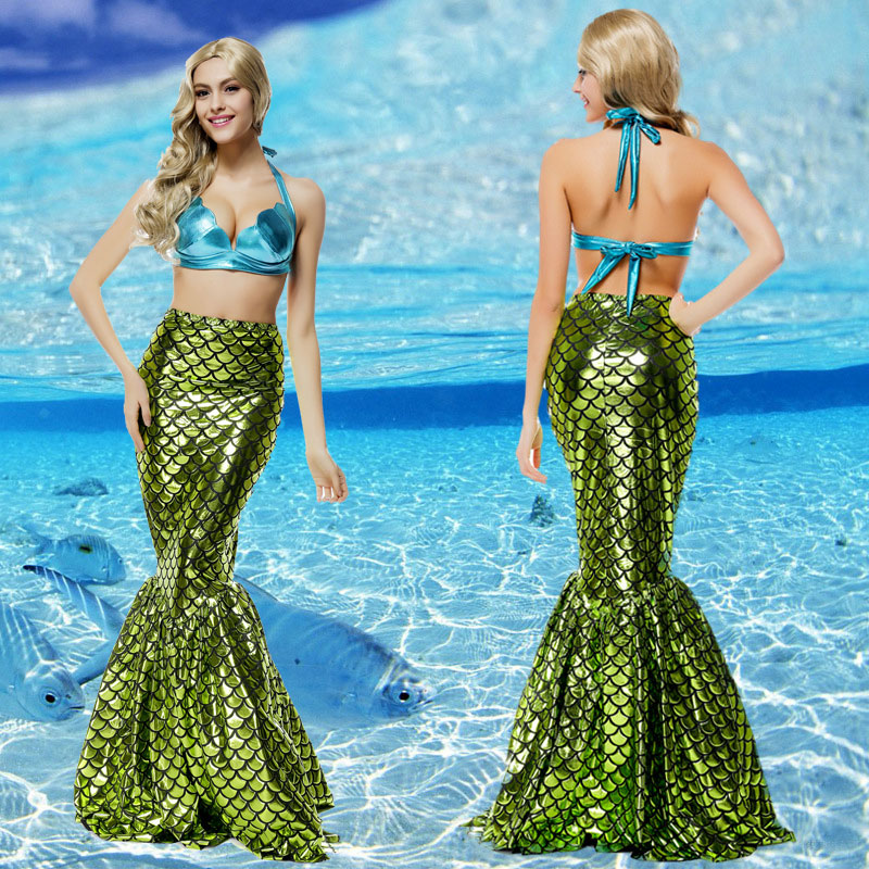 Green Sexy Bigini Mermaid Costumes Valentine's Day Dress for Woman Cosplay Polyester Halloween Costume Free Size