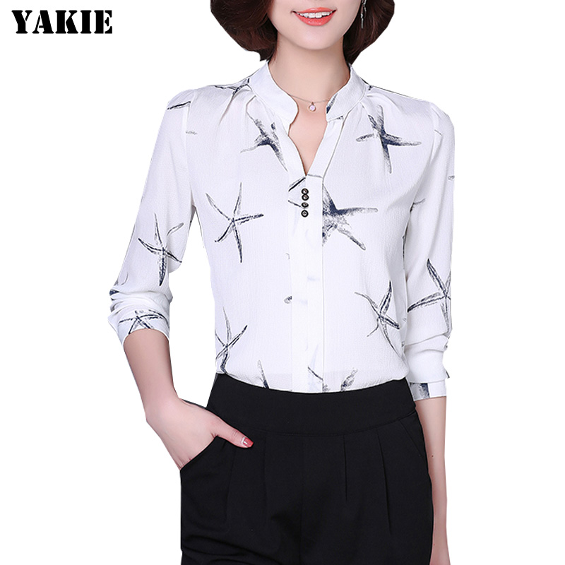 New 2016 Summer Women Chiffon shirt fashion casual office work lady chiffon blouses Elegant slim Plus size S-XXL women shirts