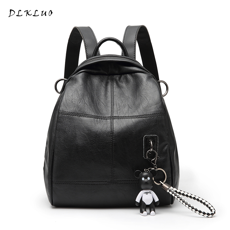 DLKLUO Women Backpack Fashion Genuine Leather backpack for teenage girl schoolbag small backpack with bear pendant