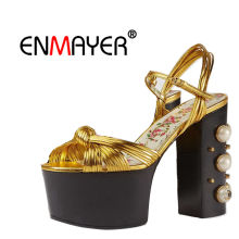 ENMAYER Pearl Women Ankle Boots Platform shoes Summer Open Toe Buckle strap High Heels Winter Women Shoes Plus size 34-42 CR31