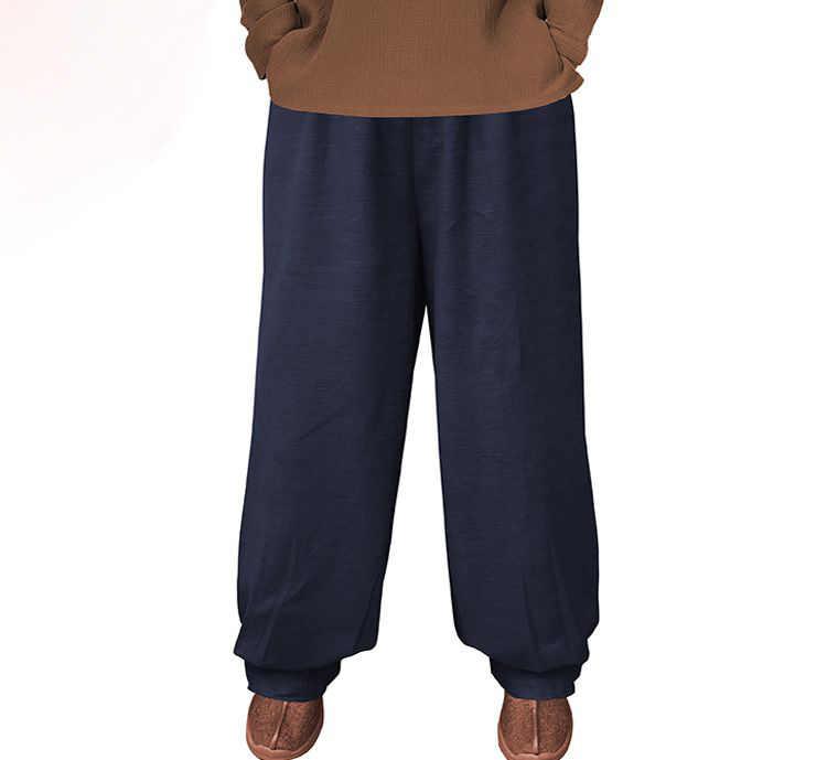 ユニセックス秋 & 冬の厚手の綿 & リネン禅仏教ズボン少林寺僧侶のカンフー武道ブルマ