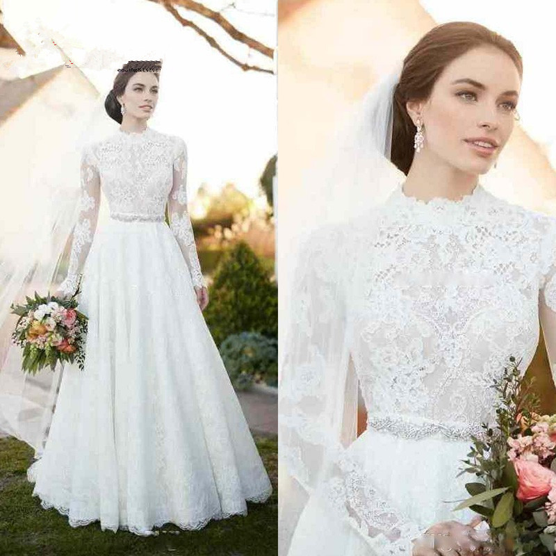High Neck Vintage Lace Wedding Dresses 2019 Appliques Illusion Long Sleeve Wedding Dresses with Sash Beaded A Line Bridal Gown