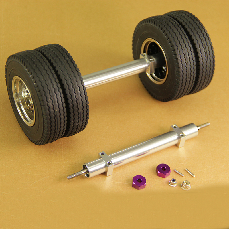 1PC <font><b>1/14</b></font> Tractor <font><b>Truck</b></font> Unpowered Rear Axle Aluminum Alloy Tail Axle Bridge W Hex Adapter+Lock Nuts for <font><b>Tamiya</b></font> <font><b>RC</b></font> Model Trailer image