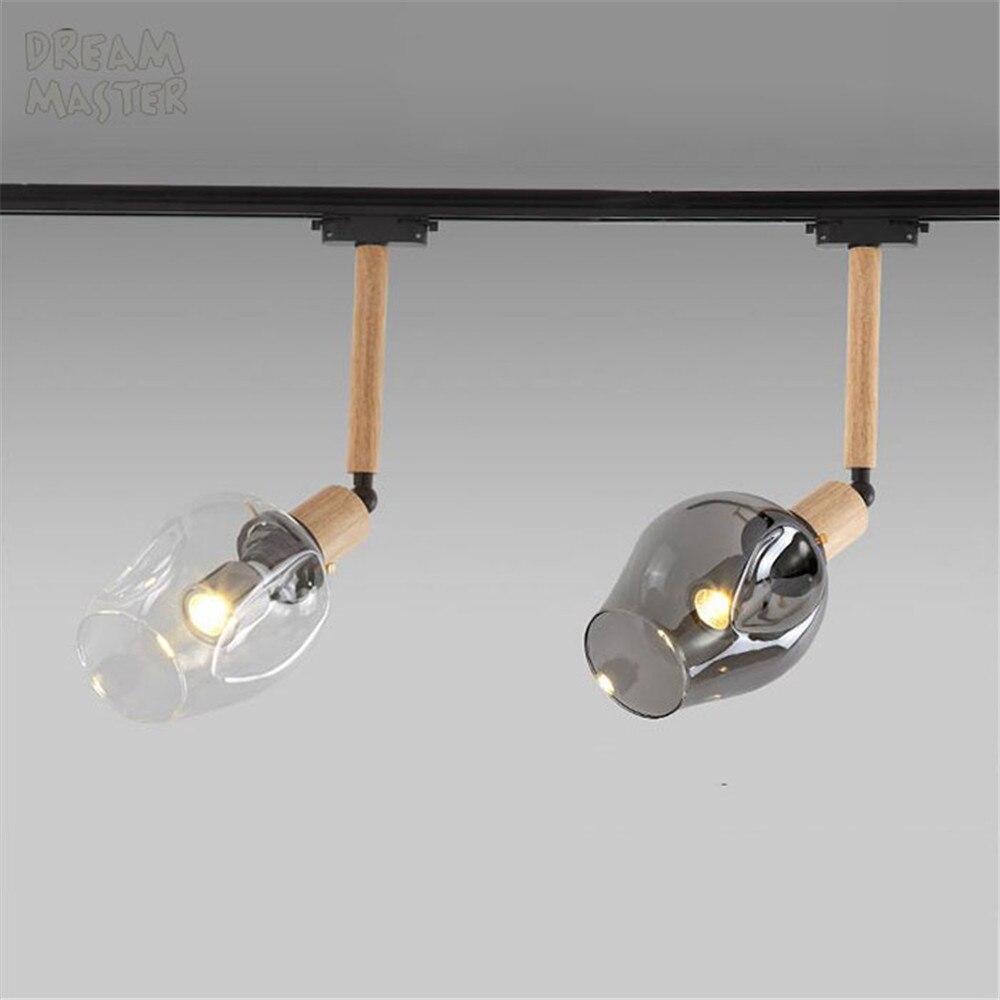 Us 3999 Przemysłowe Vintage Loft Reflektory Punktowe Led Sztuki Oświetlenie Drogi Drewno Pręt Szklany Klosz Diody Led Szyna Sufitowa Oprawa W
