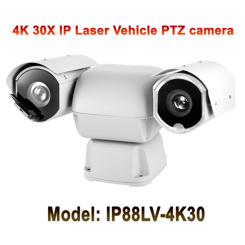 Sony CMOS 1/2.5 Heavy duty mobile vehicle ptz ip camera 4k 8mp 30x optical zoom night vision 550M DC12V IP66 Outdoor 8x zoom optical mobile phone telescope camera white