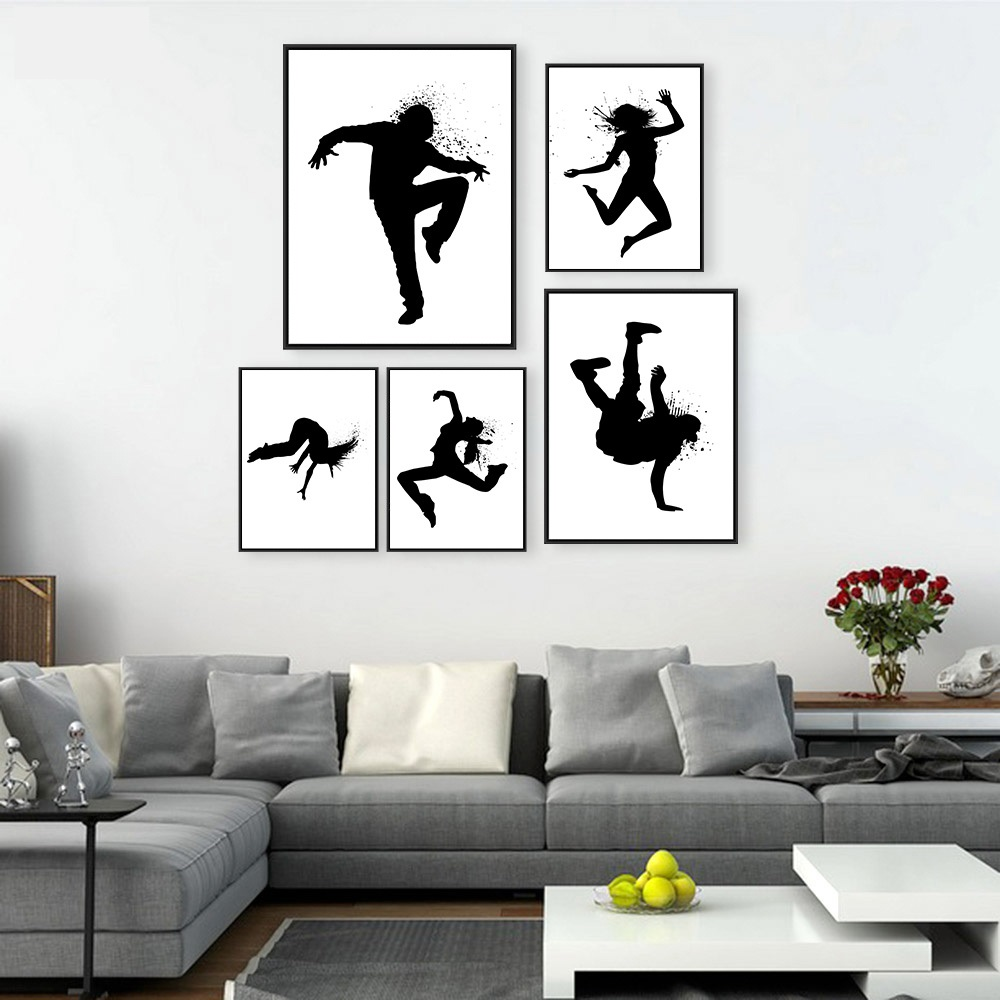 Girl Music Hip Hop Street Dance Minimalist Art Canvas Poster Painting Black White Wall Picture Modern Kids Room Decoration In Calligraphy From