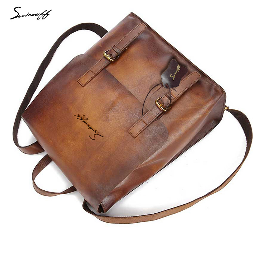 The New Retro Men Backpack Casual Women Bag The First Layer Of Leather Rubbing Male Designer Bags High Quality Men Package hot sale women s backpack the oil wax of cowhide leather backpack women casual gentlewoman small bags genuine leather school bag