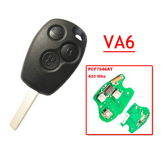 Free Shipping 3 Button Remote Key With 7946 Chip Round Button With VA2 Blade For Renault 5pc/lot