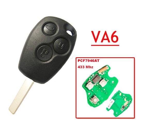 цены на Free shipping 3 Button Remote Key With 7946 Chip Round Button With VA2 Blade for Renault 5pc/lot в интернет-магазинах