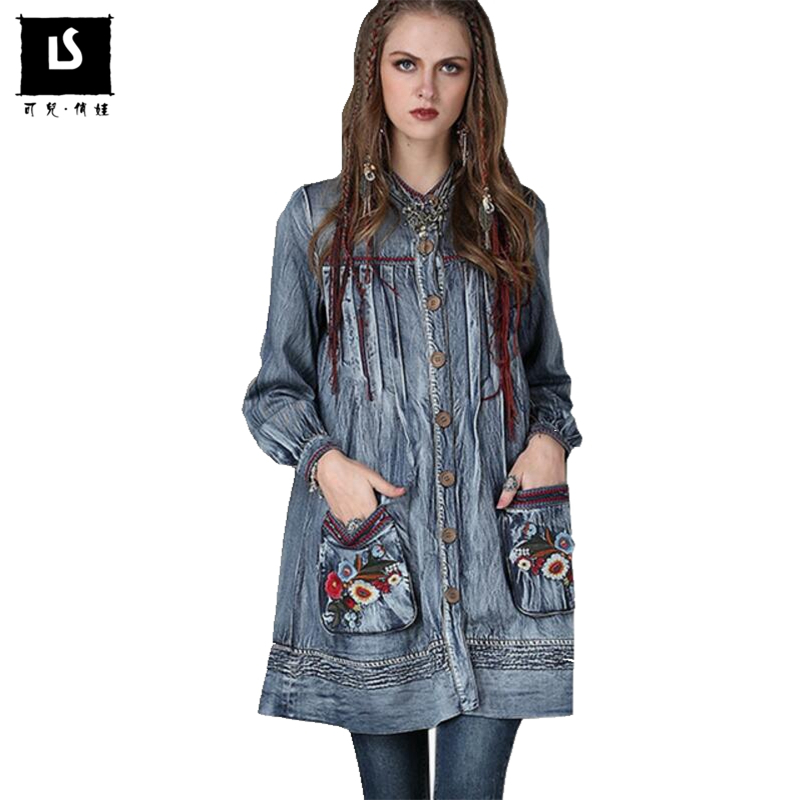 Spring Autumn Fashion Women Denim Jacket Vintage Flower Embroidered Pockets Long Coats Windbreaker Jackets Coat ladies