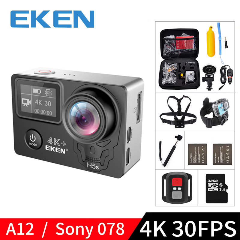 Caméra d'action Wifi EKEN H5S Plus A12 Ultra 4K 30FPS 30M étanche 1080p go EIS stabilisation d'image Ambarella 12MP pro sport cam